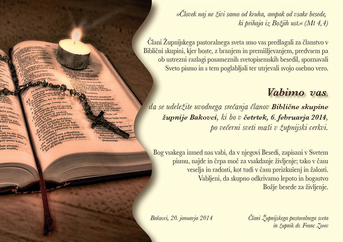 Vabilo - Biblična skupina